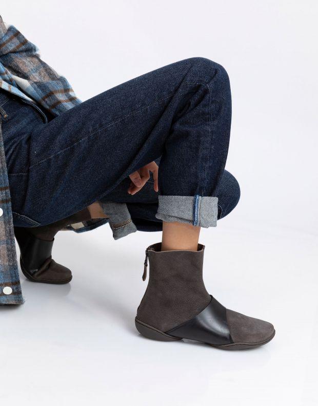 נעלי נשים - Trippen - מגפונים LOOP CUP - אפור   שחור