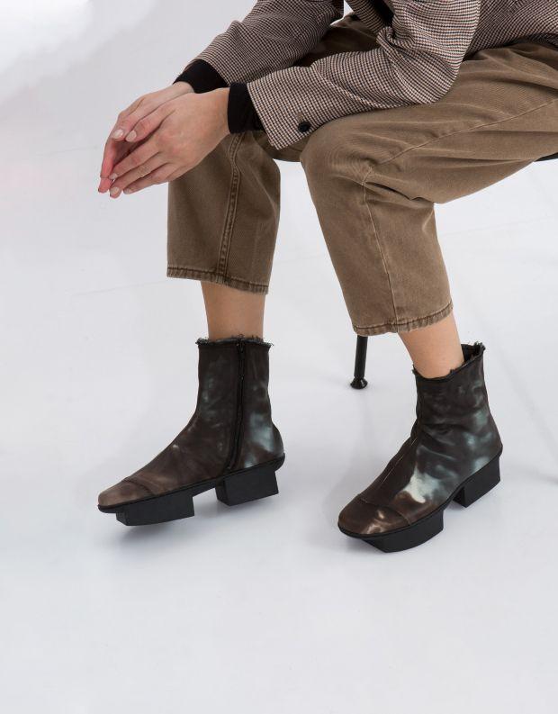 נעלי נשים - Trippen - מגפון NINA BOX - חום   שחור