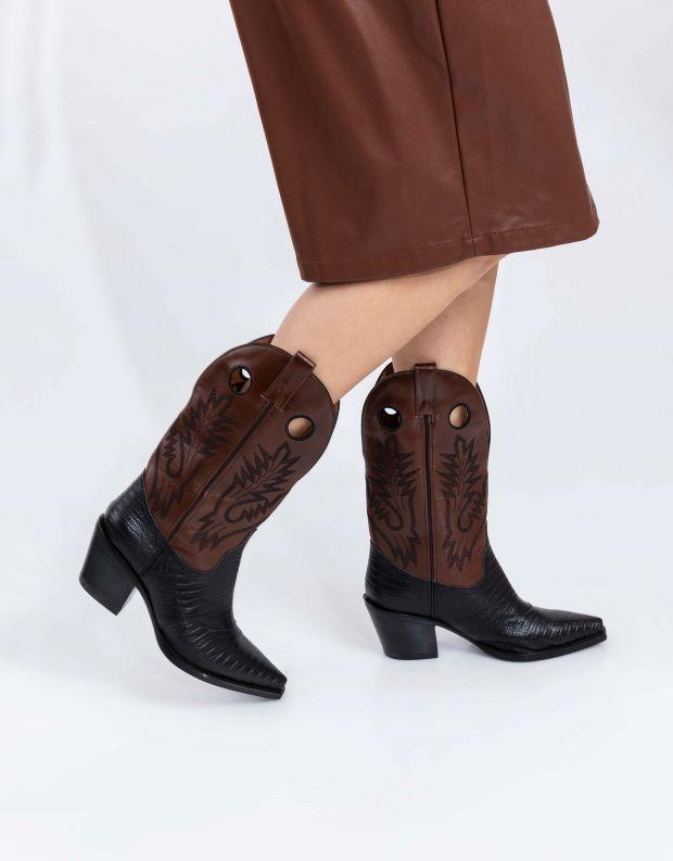 נעלי נשים - Jeffrey Campbell - מגפי בוקרים OLD TOWN - שחור חום