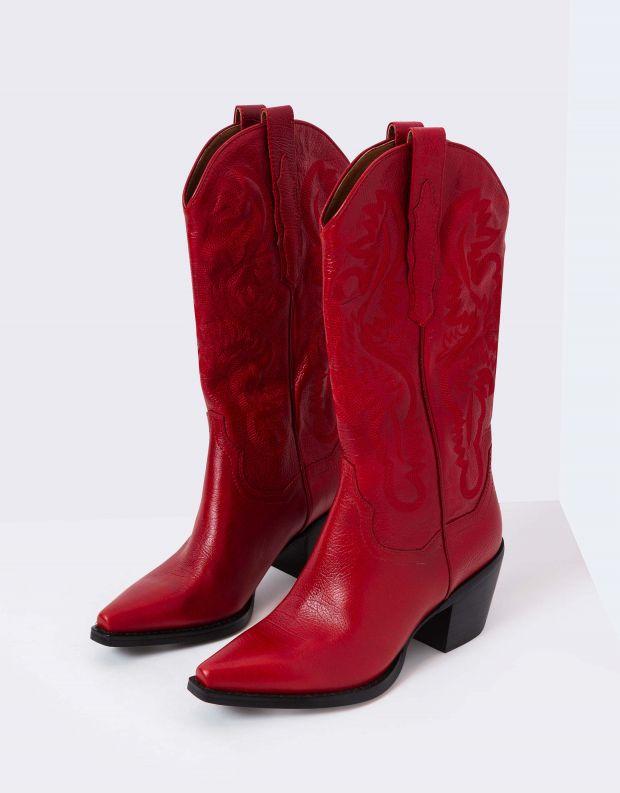נעלי נשים - Jeffrey Campbell - מגפי DAGGET עור - אדום