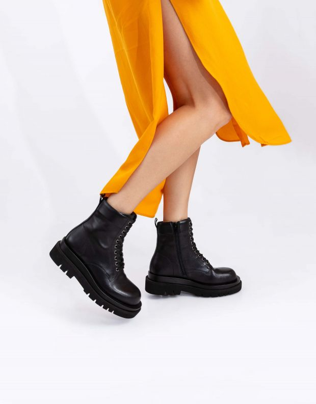 נעלי נשים - Jeffrey Campbell - מגפוני DIABOL LOW שרוכים - שחור