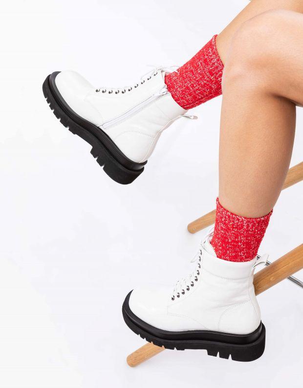 נעלי נשים - Jeffrey Campbell - מגפוני DIABOL LOW שרוכים - לבן