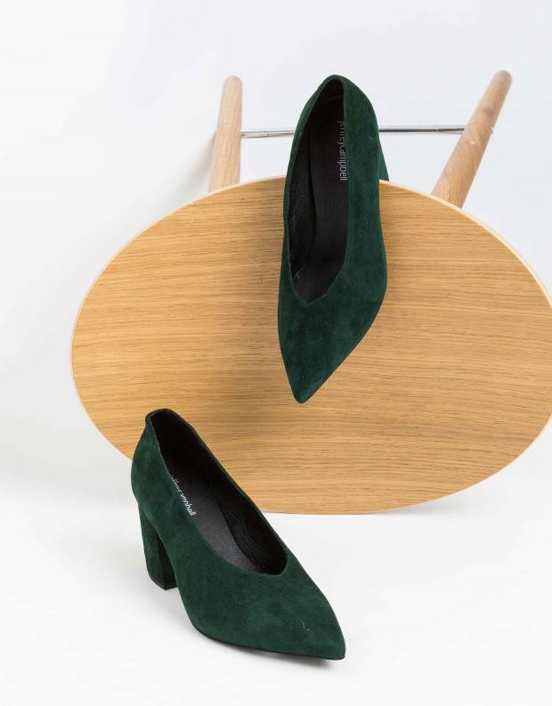 נעלי נשים - Jeffrey Campbell - נעלי סירה זמש HALT - ירוק
