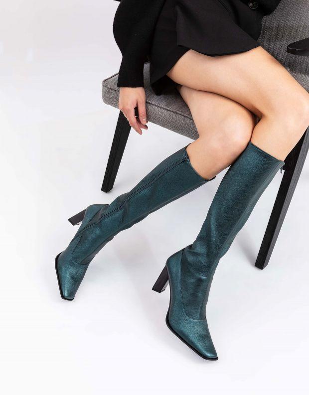 נעלי נשים - Jeffrey Campbell - מגפי עקב מטאליים ELODIE - ירוק