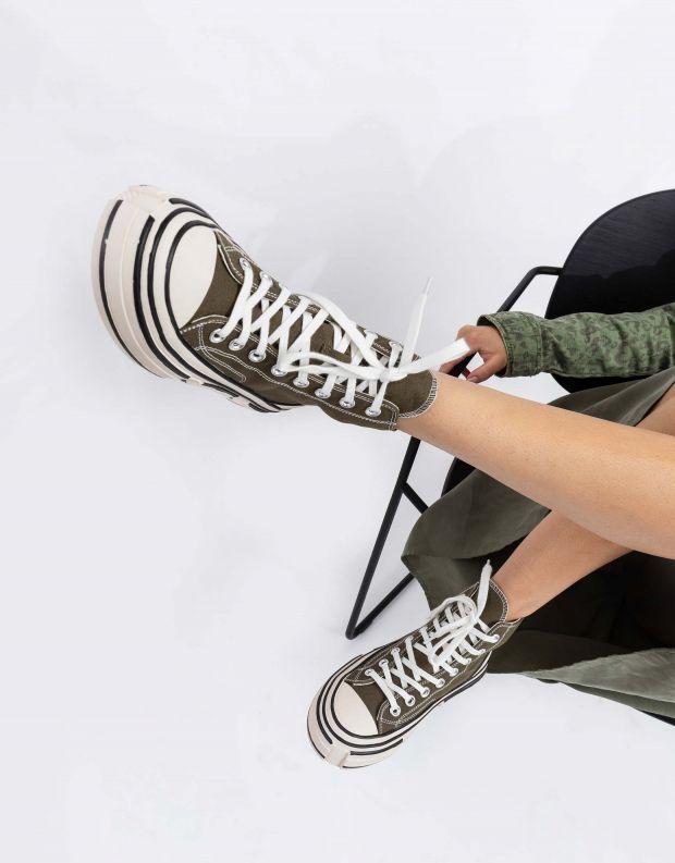 נעלי נשים - Jeffrey Campbell - סניקרס גבוהות ENDORPHIN - חאקי