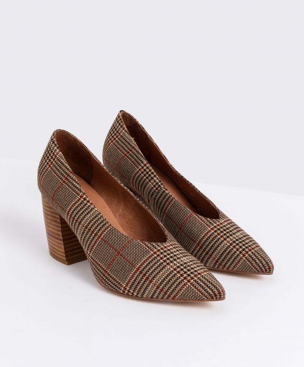 נעלי נשים - Jeffrey Campbell - נעלי סירה בד HALT - חום   אדום