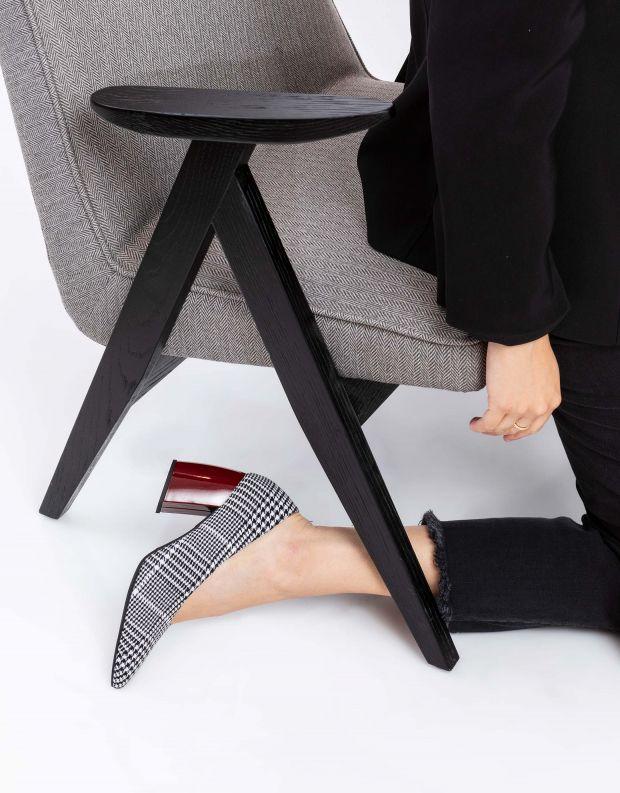 נעלי נשים - Jeffrey Campbell - נעלי סירה בד HALT - שחור לבן