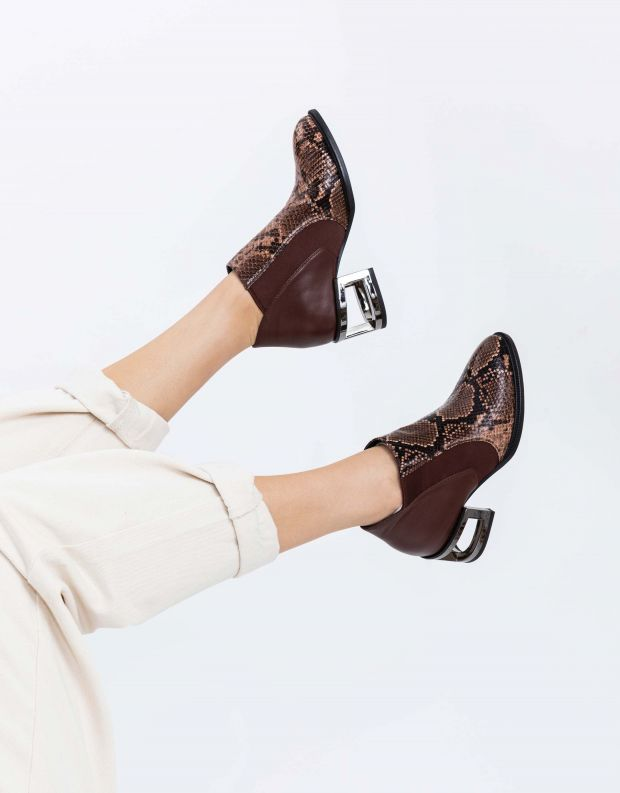 נעלי נשים - Jeffrey Campbell - מגפון DUVAL - חום נחש
