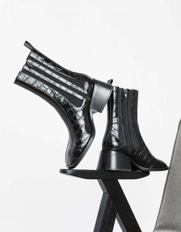 נעלי נשים - Jeffrey Campbell - מגפוני צ'לסי LLIAM HI - שחור קרוקו