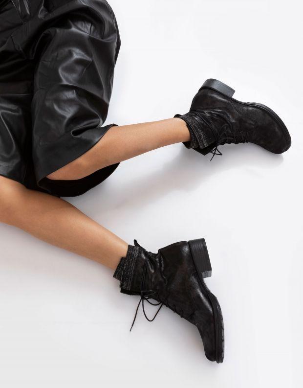 נעלי נשים - Mjus - מגפוני NORTON פס ניטים - שחור