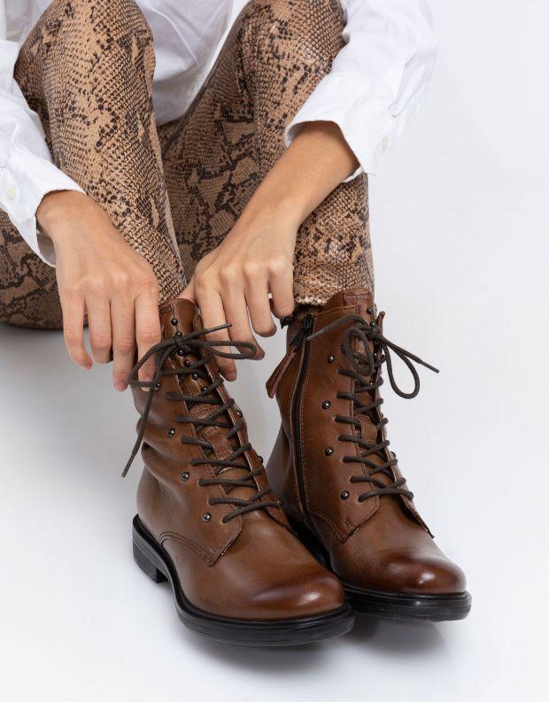 נעלי נשים - Mjus - מגפונים עם שרוכים CAFE - קוניאק
