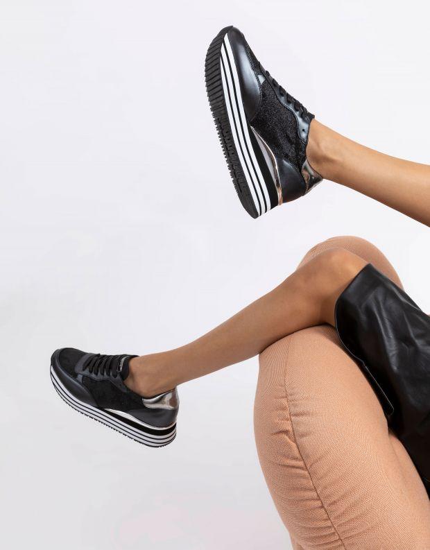 נעלי נשים - Crime London - סניקרס DYNAMIC פלטפורמה - שחור נצנצים