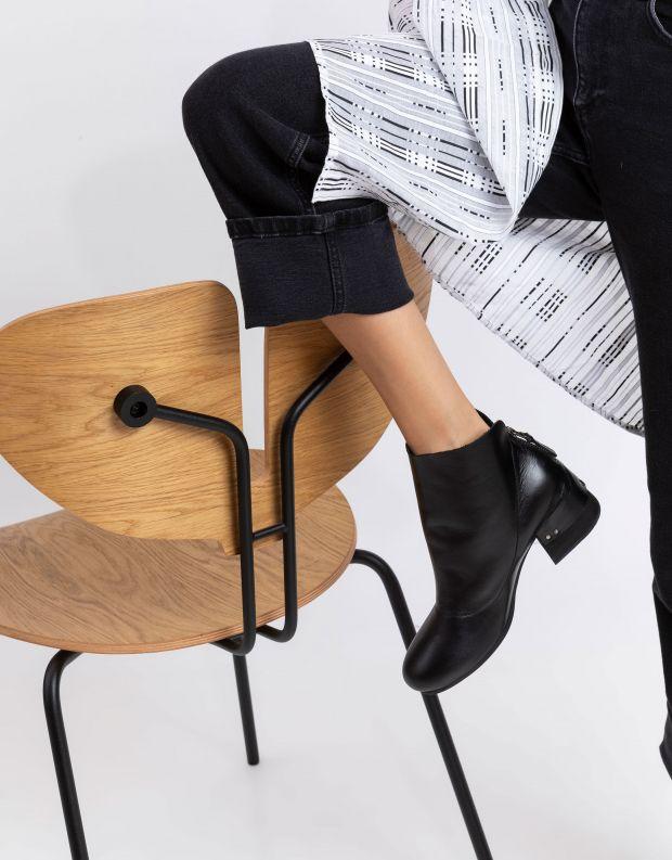 נעלי נשים - Yuko Imanishi - מגפוני עור SHIRO - שחור