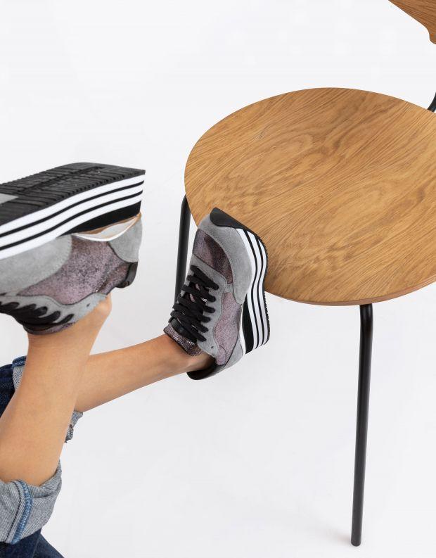 נעלי נשים - Crime London - סניקרס DYNAMIC פלטפורמה - כסף