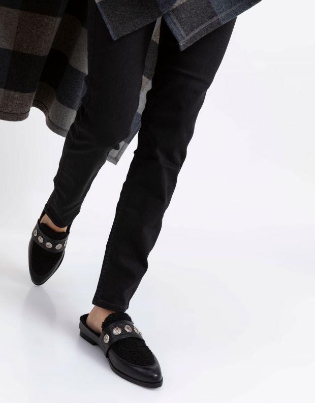 נעלי נשים - SOL SANA - כפכפי TEDDY פרווה - שחור