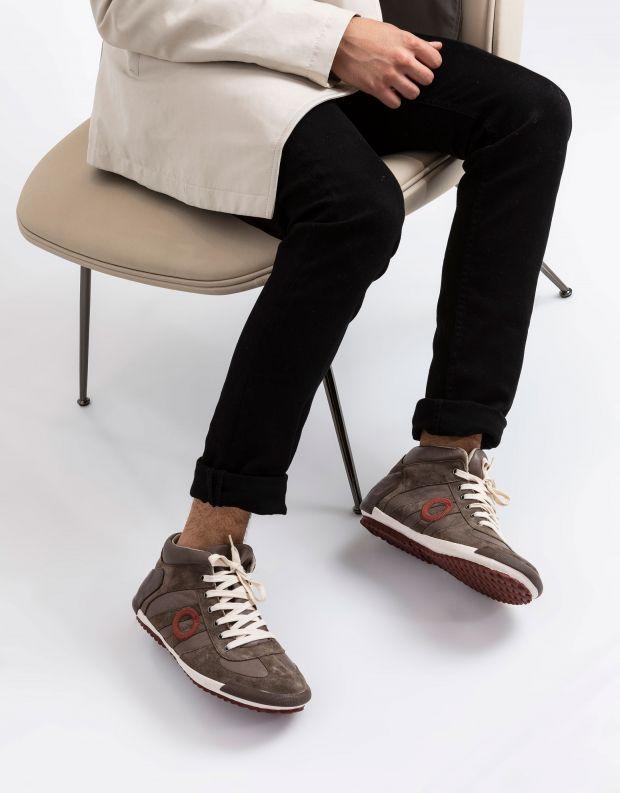 נעלי גברים - Aro - סניקרס גבוה IDO - חום בהיר