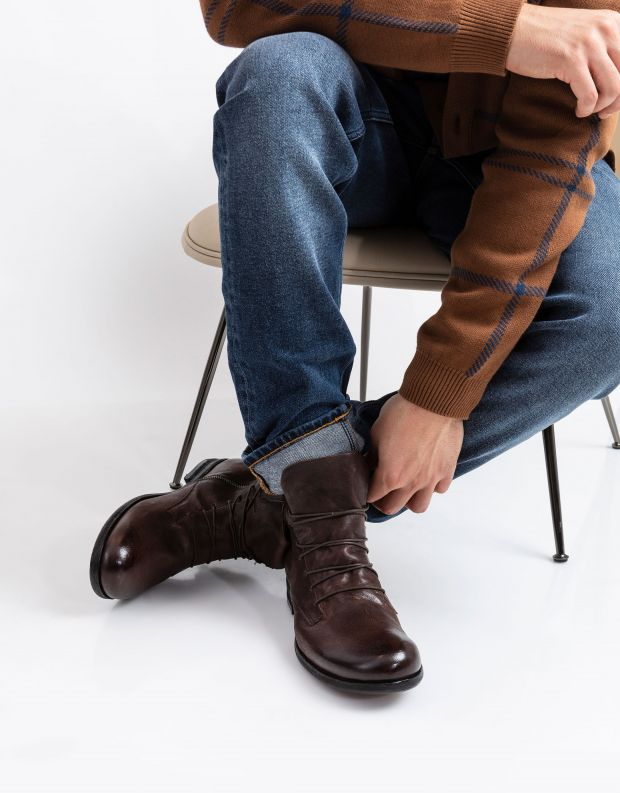 נעלי גברים - A.S. 98 - מגפיים עם שרוכים TRY - חום