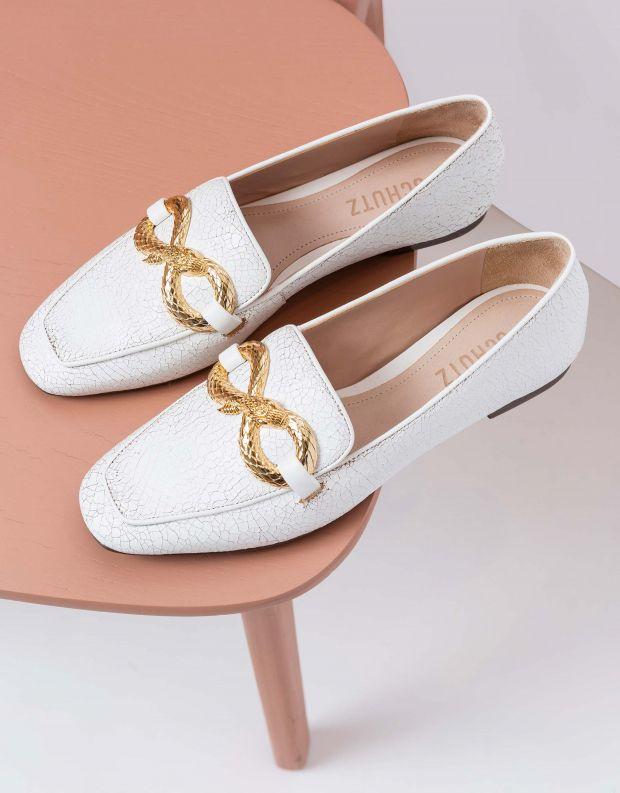 נעלי נשים - Schutz - נעלי מוקסינים GAGE - לבן