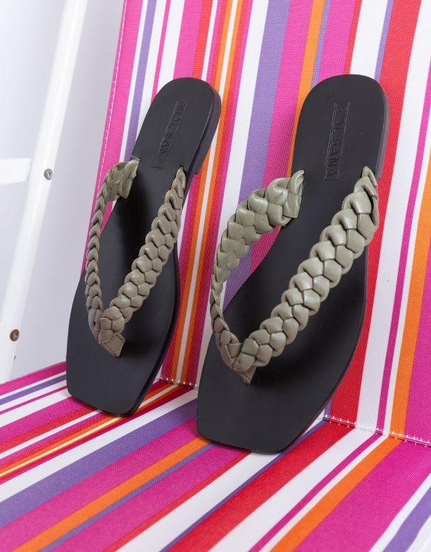 נעלי נשים - SOL SANA - כפכפי אצבע שטוחים LOTUS - זית