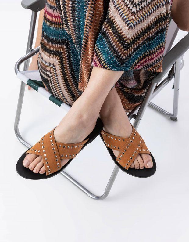 נעלי נשים - SOL SANA - כפכפי איקס שטוחים KIMBER - קאמל