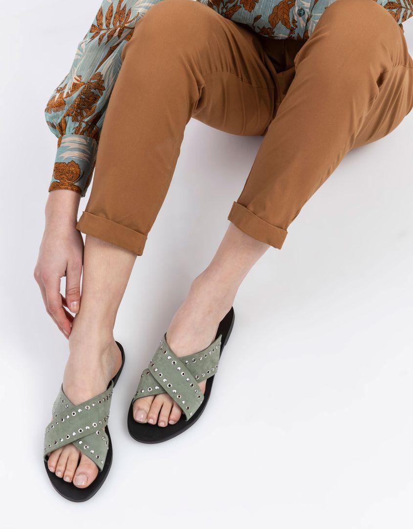 נעלי נשים - SOL SANA - כפכפי איקס שטוחים KIMBER - זית