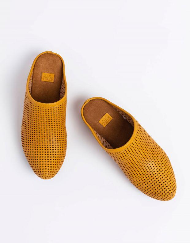 נעלי נשים - Vialis - כפכפי עור מחוררים LOLA - צהוב