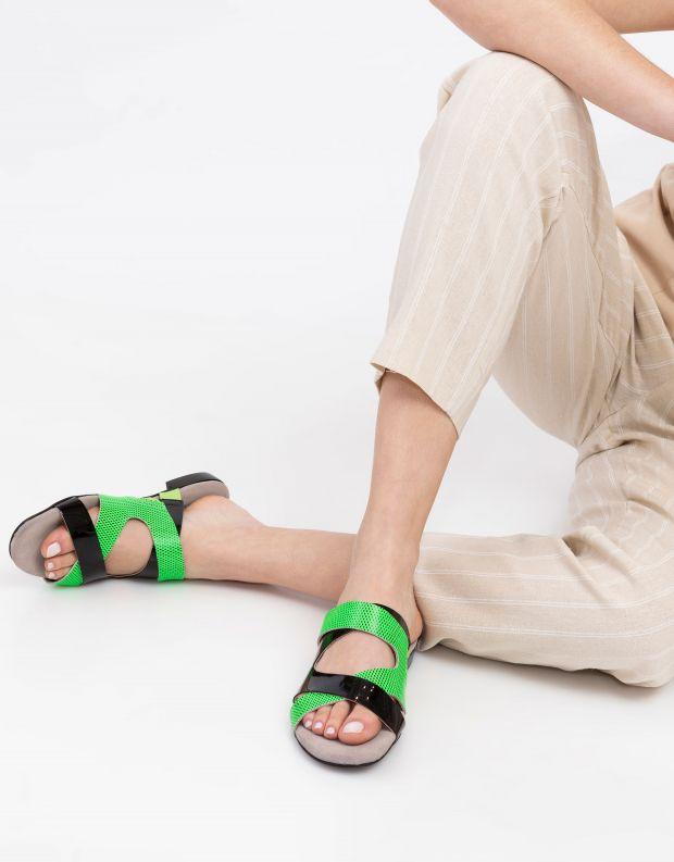 נעלי נשים - Shoemaker - כפכפי רצועות FLASH - שחור ירוק