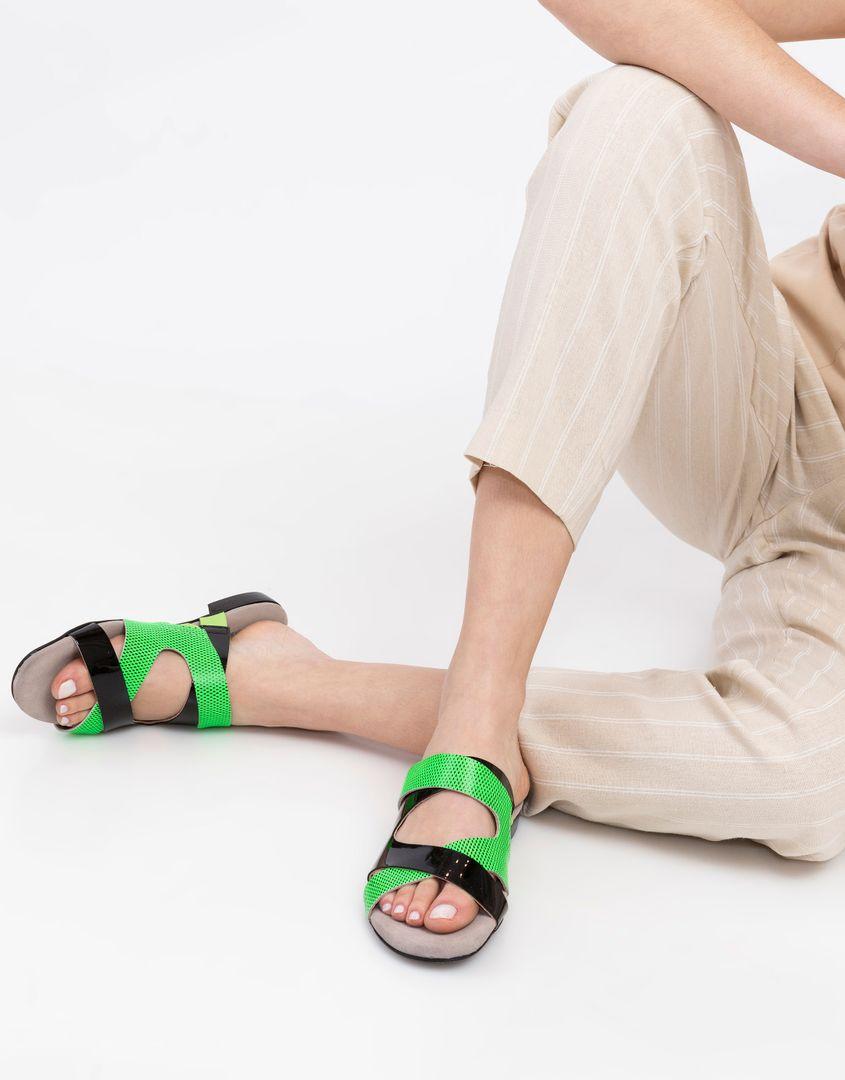 נעלי נשים - Shoemaker - כפכפי רצועות FLASH - שחורירוק