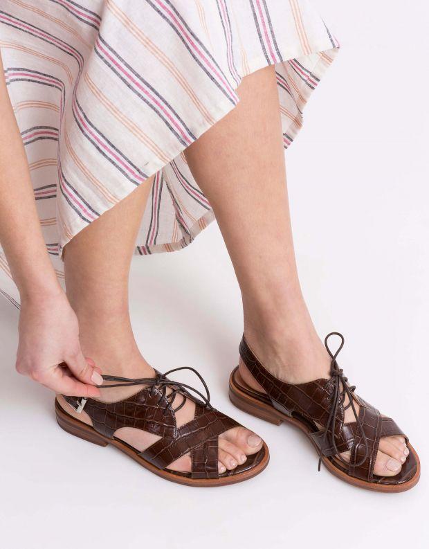נעלי נשים - Jeffrey Campbell - סנדל KINGSTON - חום קרוקו
