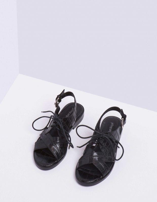 נעלי נשים - Jeffrey Campbell - סנדל KINGSTON - שחור קרוקו