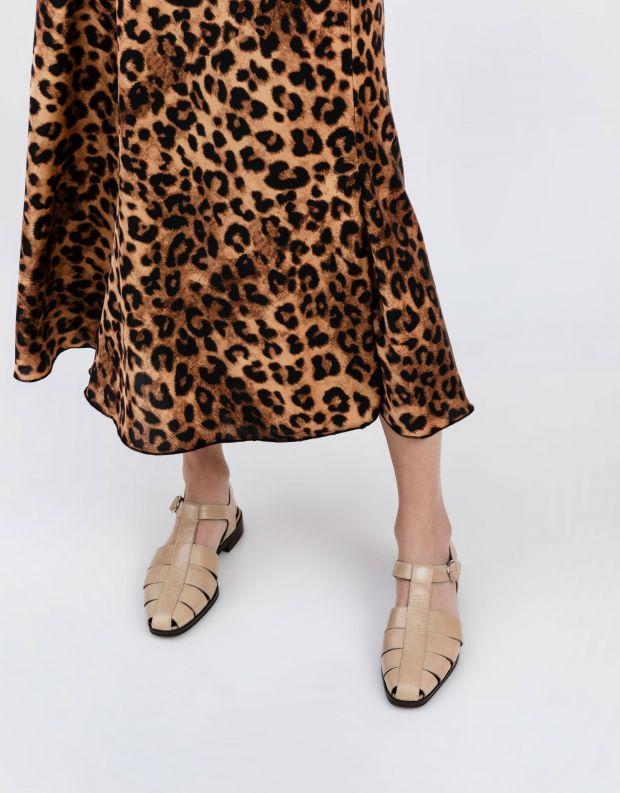 נעלי נשים - Jeffrey Campbell - סנדלי עור שטוחים LANDEN - ניוד