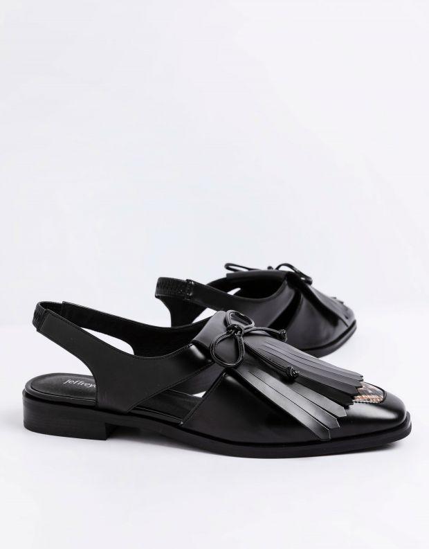 נעלי נשים - Jeffrey Campbell - סנדלי עור שטוחים  OXBRIDG - שחור