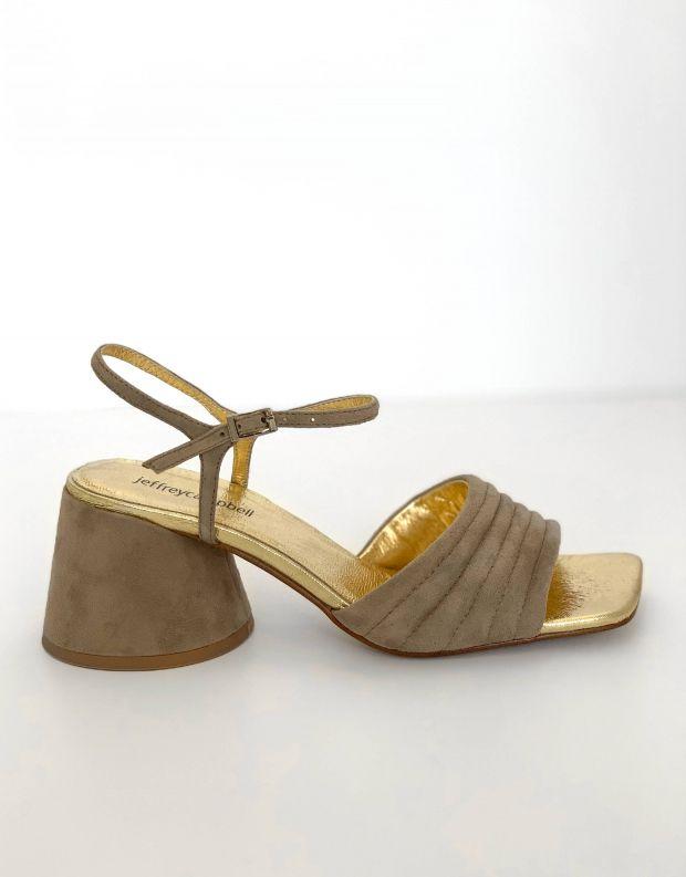 נעלי נשים - Jeffrey Campbell - סנדלי זמש עם עקב VERRA - אפור