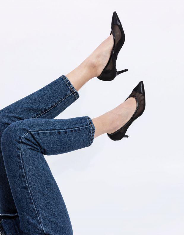 נעלי נשים - Jeffrey Campbell - נעלי סירה מבד רשת LURE - שחור