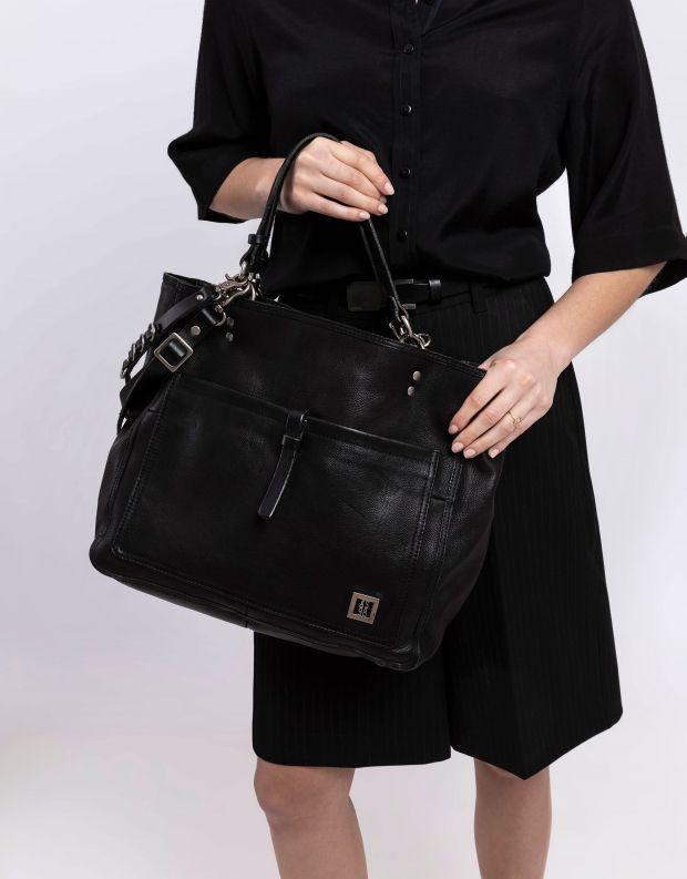 נעלי נשים - A.S. 98 - תיק עור עם כיס חיצוני - שחור