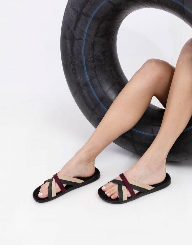 נעלי נשים - Lovelies - כפכפי רצועות מבד MALA - שחור ירוק