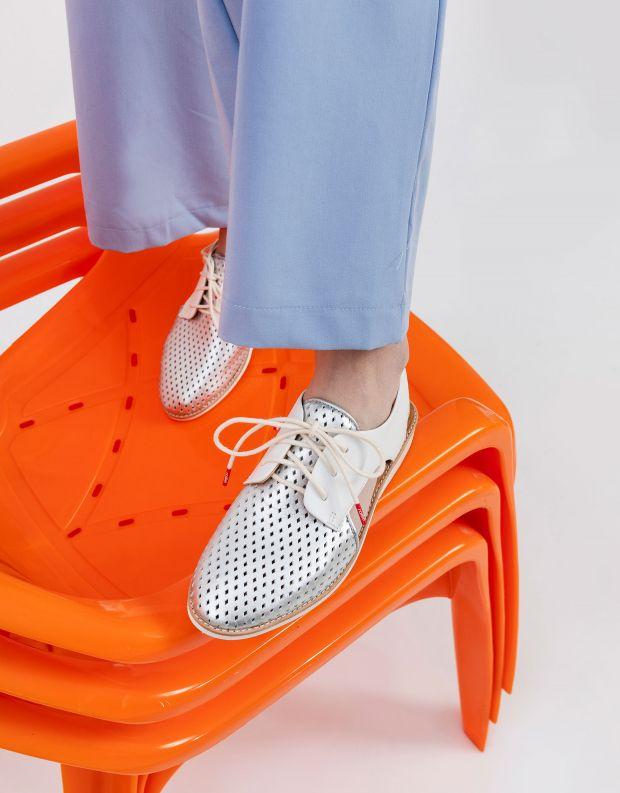 נעלי נשים - Rollie - נעלי SLINGBACK PUNCH - לבן   כסף