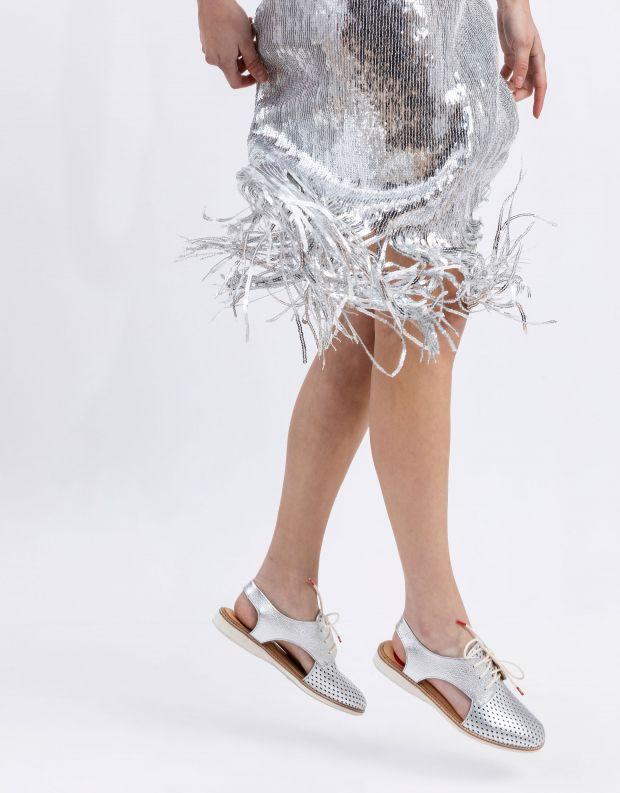 נעלי נשים - Rollie - נעלי עור SLINGBACK PUNCH - כסף