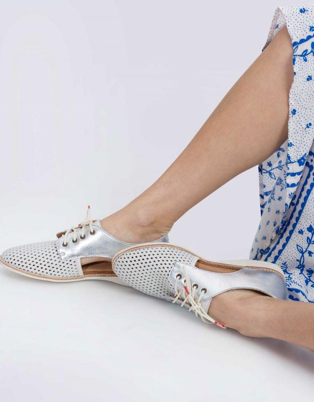 נעלי נשים - Rollie - נעלי עור SIDECUT PUNCH - לבן   כסף