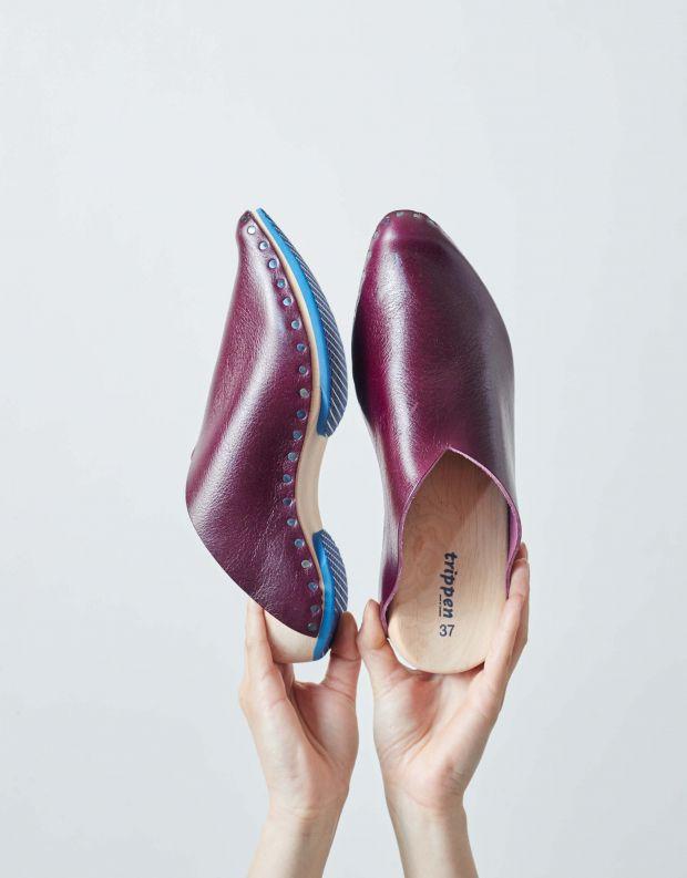 נעלי נשים - Trippen - כפכפי עץ LORETTA WOOD - חציל