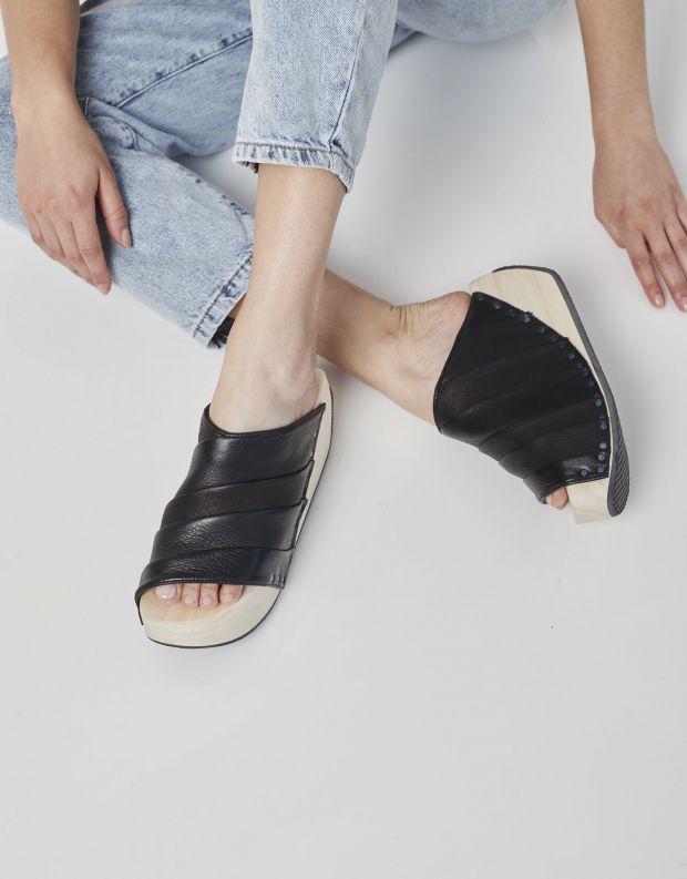נעלי נשים - Trippen - כפכפי פלטפורמה TENDA WOOD - שחור