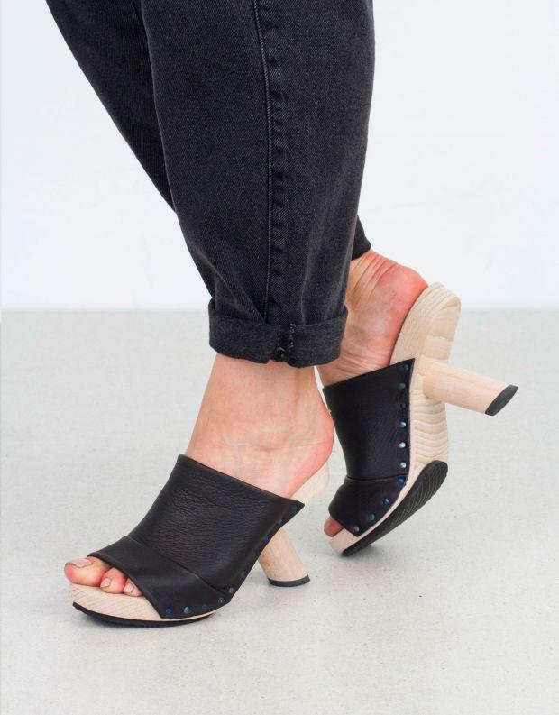 נעלי נשים - Trippen - כפכפי עקב CLAIM WOOD - שחור