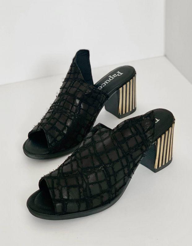נעלי נשים - Papucei - כפכפים עם עקב GLAN - שחור