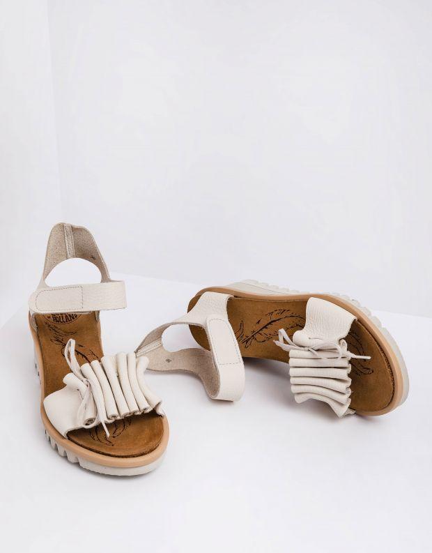 נעלי נשים - loints of Holland - סנדלים עם עקב רוקי BRIGHT - לבן