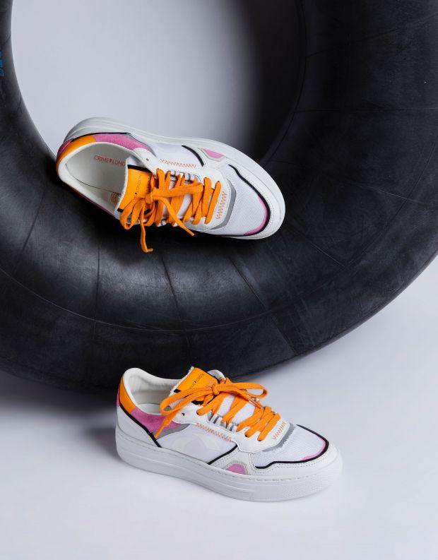 נעלי נשים - Crime London - סניקרס LOW TOP OFF COURT - לבן   כתום