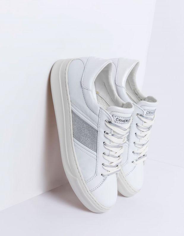 נעלי נשים - Crime London - סניקרס LOW TOP CLASSIC - לבן   כסף