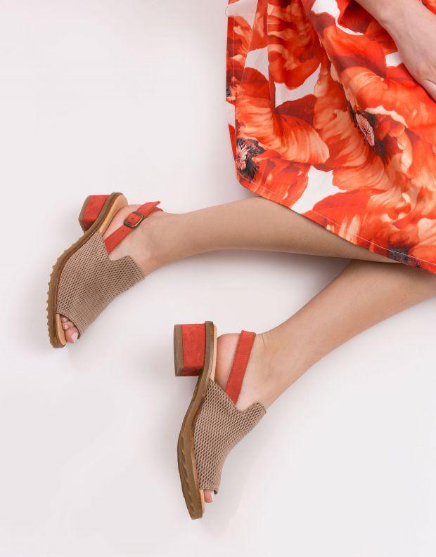 נעלי נשים - El Naturalista - סנדלי עקב SABAL - חום   אדום