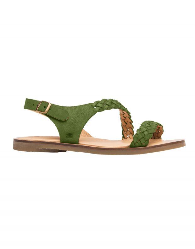 נעלי נשים - El Naturalista - סנדלי זמש עם צמה TULIP - ירוק
