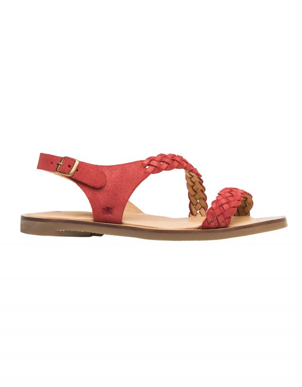נעלי נשים - El Naturalista - סנדלי זמש עם צמה TULIP - אדום