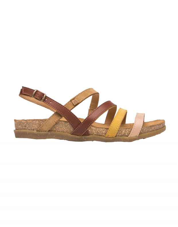 נעלי נשים - El Naturalista - סנדלי עור רצועות ZUMAIA - חום   צהוב